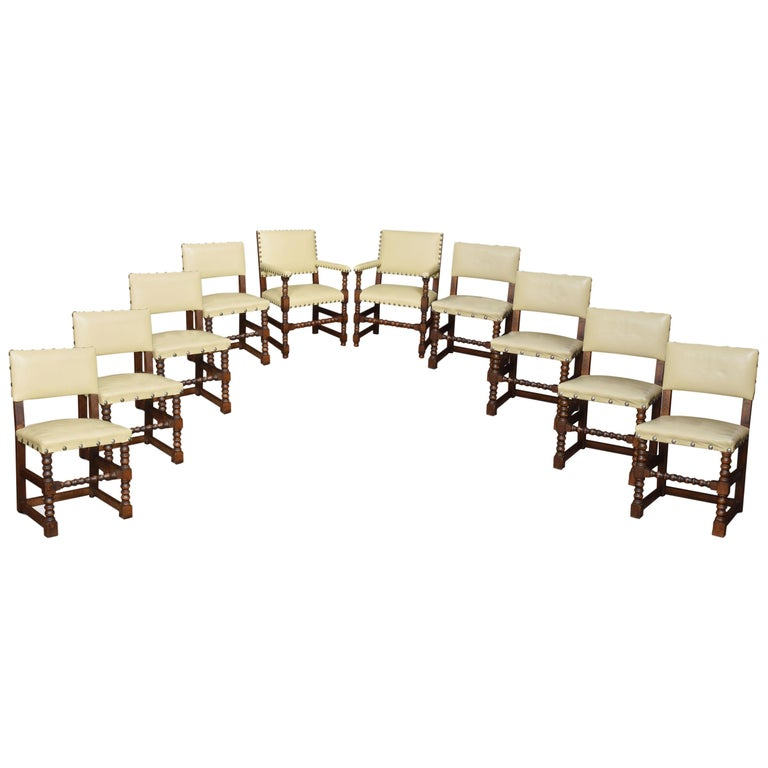 Set of Ten Substantial Oak Dining Chairs For Sale