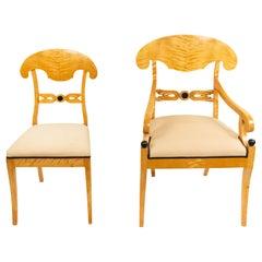 Set of Ten Swedish Biedermeier Birch Dining Chairs 8 Side and 2 Armchairs