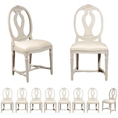 Set of Ten Swedish Gustavian Style Dining Chairs with Oval Backs, circa 1900