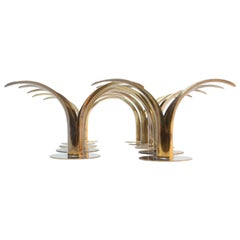 Set of Ten Swedish 'Liljan' Brass Candleholders by Ystad