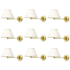 Set of Ten Swing Wall Lights in Brass, 1970s