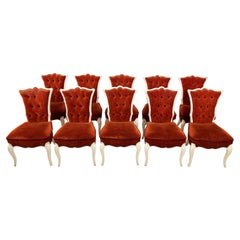 Set of Ten Upholstered Hollywood Regency Style Side Chairs