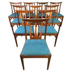 "Set of Ten Vintage British Midcentury Teak ""Brasilia"" Dining Chairs by G Plan"