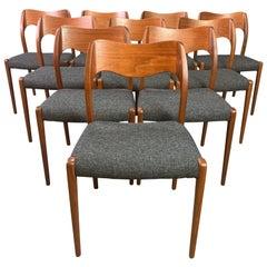 "Set of Ten Vintage Danish Mid-Century Modern Teak Dining Chairs ""Model 71"""