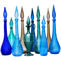 Set of Ten Vintage Italian Glass Empoli 'Genie' Decanters