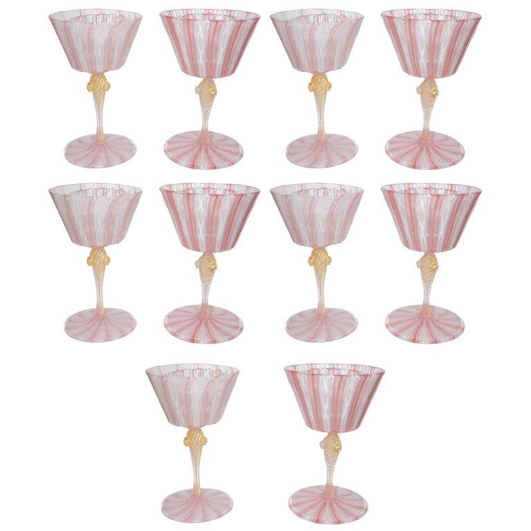Set of Ten Vintage Venetian Glass Latticino Goblets Wine Water Stems For Sale