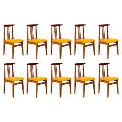Set of Ten Yellow Chairs, by Zielinski, Europe, 1960s