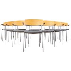 Set of Thirteen Swedish Modern EFG Offy Stacking Chairs