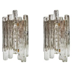 Set of J.T. Kalmar Glass Wall Sconces with Brass Details