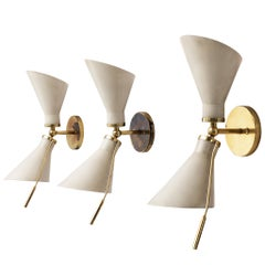 Set of Three 131 Wall Lights by Gino Sarfatti