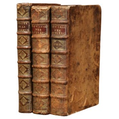 Set of Three 17th Century French Leather Bound Decorative Books Dated 1692-1700