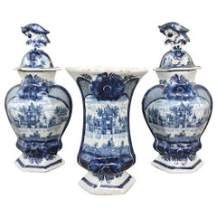 Set of Three 18th Century Delft Blue and White Vases