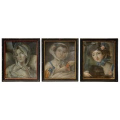 Set of Three 18th Century French Provincial Pastel Portraits of Women