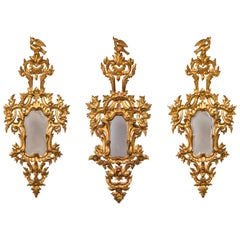 Set of Three 18th Century French Rococo Carved Giltwood Mirrors