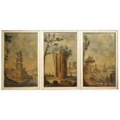 Set of Three 18th Century Italian Landscape Paintings, Oil on Canvas