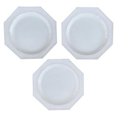 Set of Three 18th Century Octagonal Creamware Plates, Marked