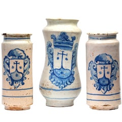 Set of Three 18th Century Spanish / Talavera Apothecary Jars or Albarelos