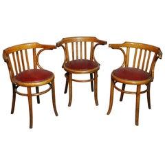 Set of Three 1920 Czechoslovakia Made Thonet Bentwood Chairs