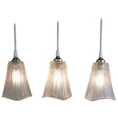 Set of Three 1930s Art Deco Glass Shade Pendant Light by E.J.G.