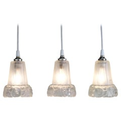 Set of Three 1930s Art Deco Glass Shade Pendant Light by J. Robert