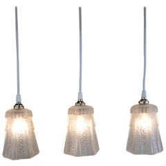 Set of Three 1930s Art Deco Glass Shade Pendant Light
