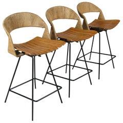 Set of Three 1950s Swivel Barstools by Arthur Umanoff