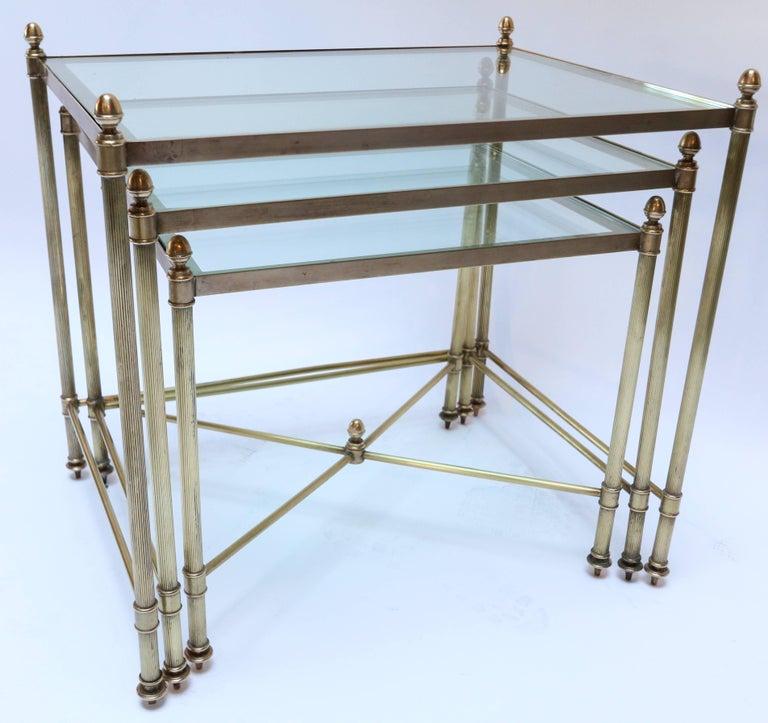 Mid-Century Modern Set of Three 1960s Italian Brass Nesting Tables For Sale