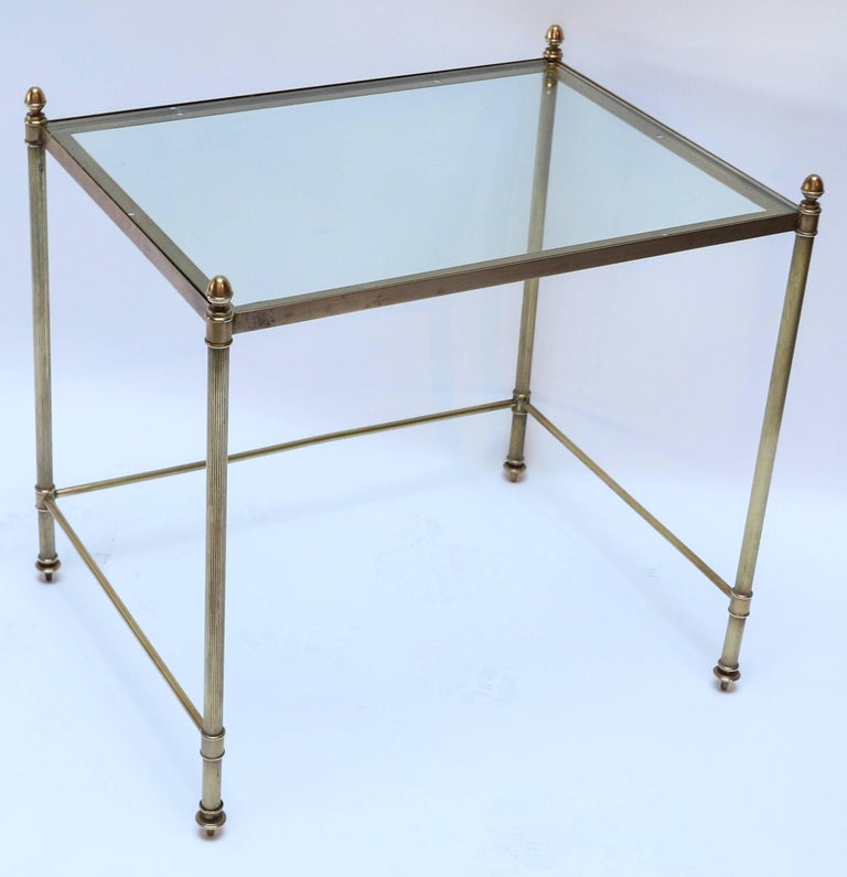Set of Three 1960s Italian Brass Nesting Tables In Good Condition For Sale In Los Angeles, CA
