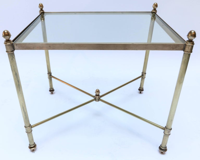 Set of Three 1960s Italian Brass Nesting Tables For Sale 3
