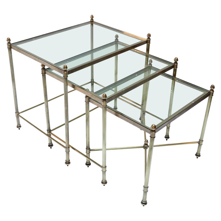 Set of Three 1960s Italian Brass Nesting Tables For Sale
