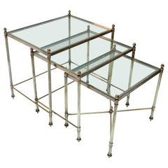 Set of Three 1960s Italian Brass Nesting Tables