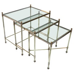 Set of Three 1960s Italian Brass Nesting Tables