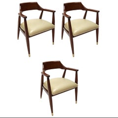 Set of Three 1960s Walnut Armchairs with Brass Feet