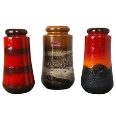 "Set of Three 1970s Pottery Fat Lava ""549"" Vases Made by Scheurich, Germany"