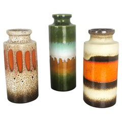 "Set of Three 1970s Pottery Fat Lava ""Multicolor"" Vases Made by Scheurich Germany"