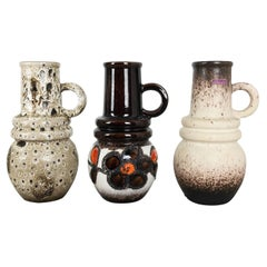 """Set of Three 1970s Pottery Fat Lava """"Vienna"""" Vases Made by Scheurich, Germany"""