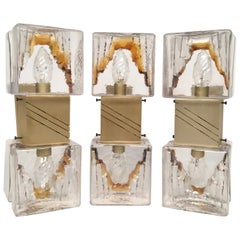 Set of Three 1970s Sconces in Murano Glass by Carlo Nason for Mazzega