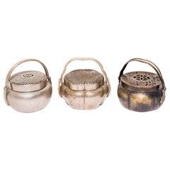 Set of Three 19th Century Chinese Brass Braziers