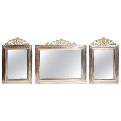 Set of Three 19th Century French Brass and Copper Silvered Mirrors