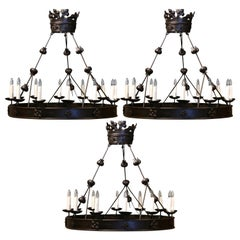 Set of Three 19th Century French Gothic Twelve-Light Forged Iron Chandeliers