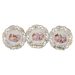 Set of Three 19th Century French Porcelain Plates