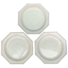 Set of Three 19th Century Octagonal Creamware Porcelain Plates, Marked