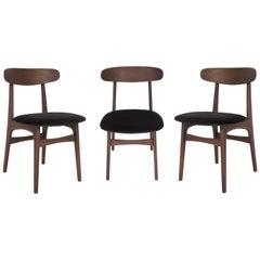 Set of Three 20th Century Black Velvet Chairs, 1960s