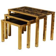 Set of Three 23-Carat Gold Plated Modern Regency Nesting Tables by Belgo Chrom