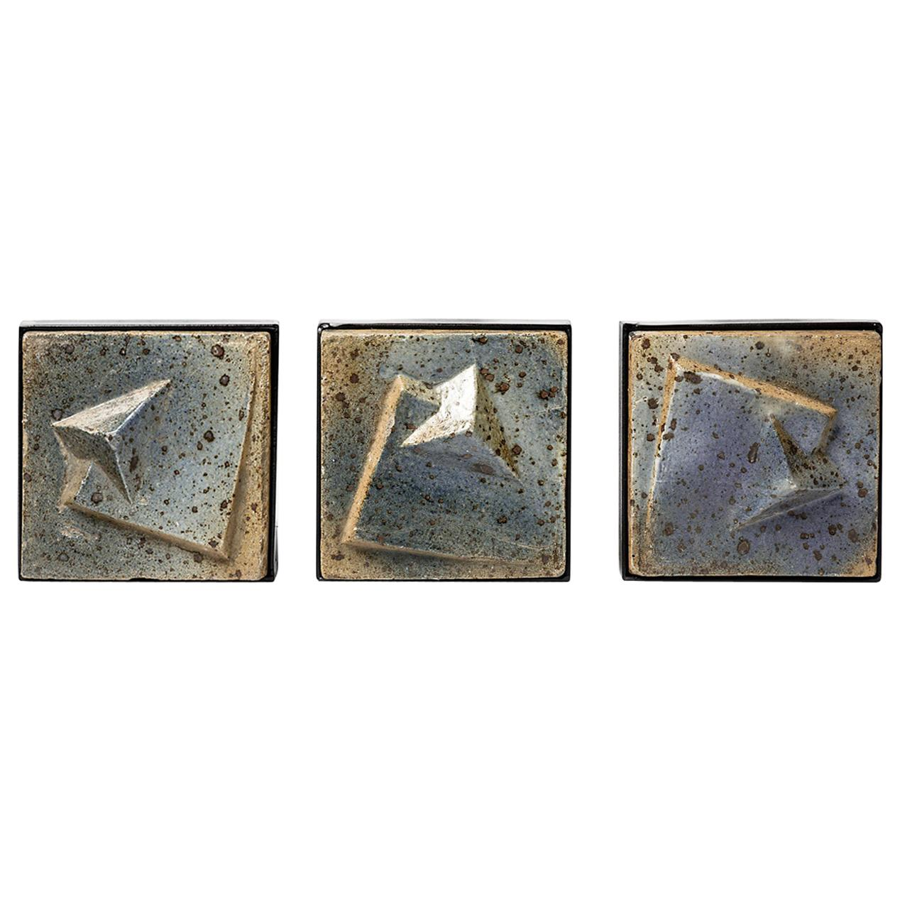 Set of Three Abstract Blue Stoneware Ceramic Wall Sculpture by Pierre Digan