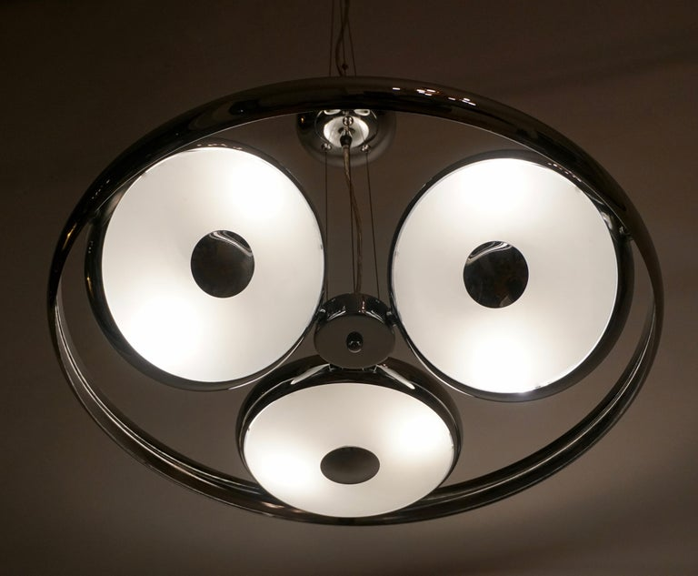 One off Three Adjustable Italian Glass and Chrome Ufo Chandeliers For Sale 14