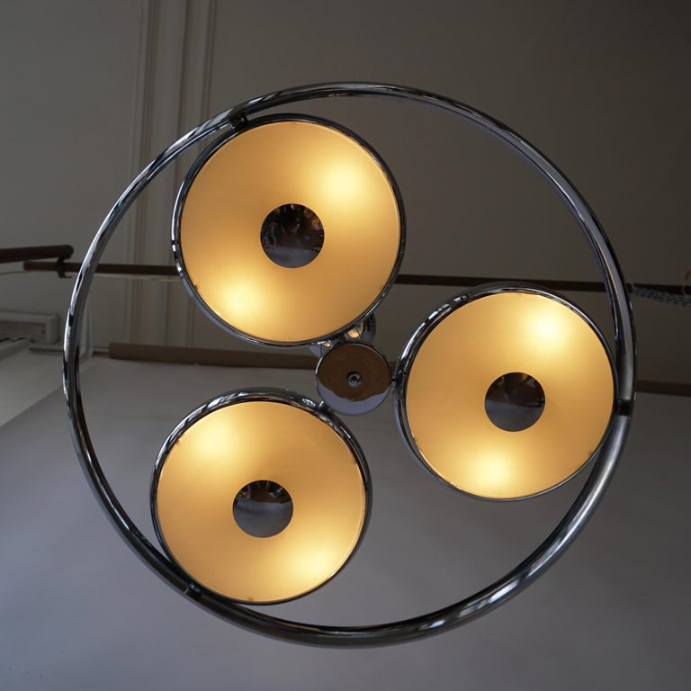 Metal One off Three Adjustable Italian Glass and Chrome Ufo Chandeliers For Sale