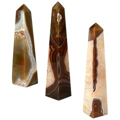 Set of Three Agate and Amethyst Mineral Obelisks