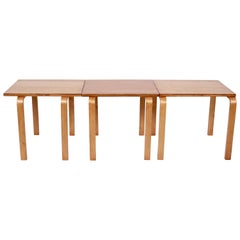 Set of Three Alvar Aalto Stacking Tables Coffee Tables, 1940s