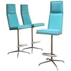 Set of Three American Modern High-Back Barstools by Jansko